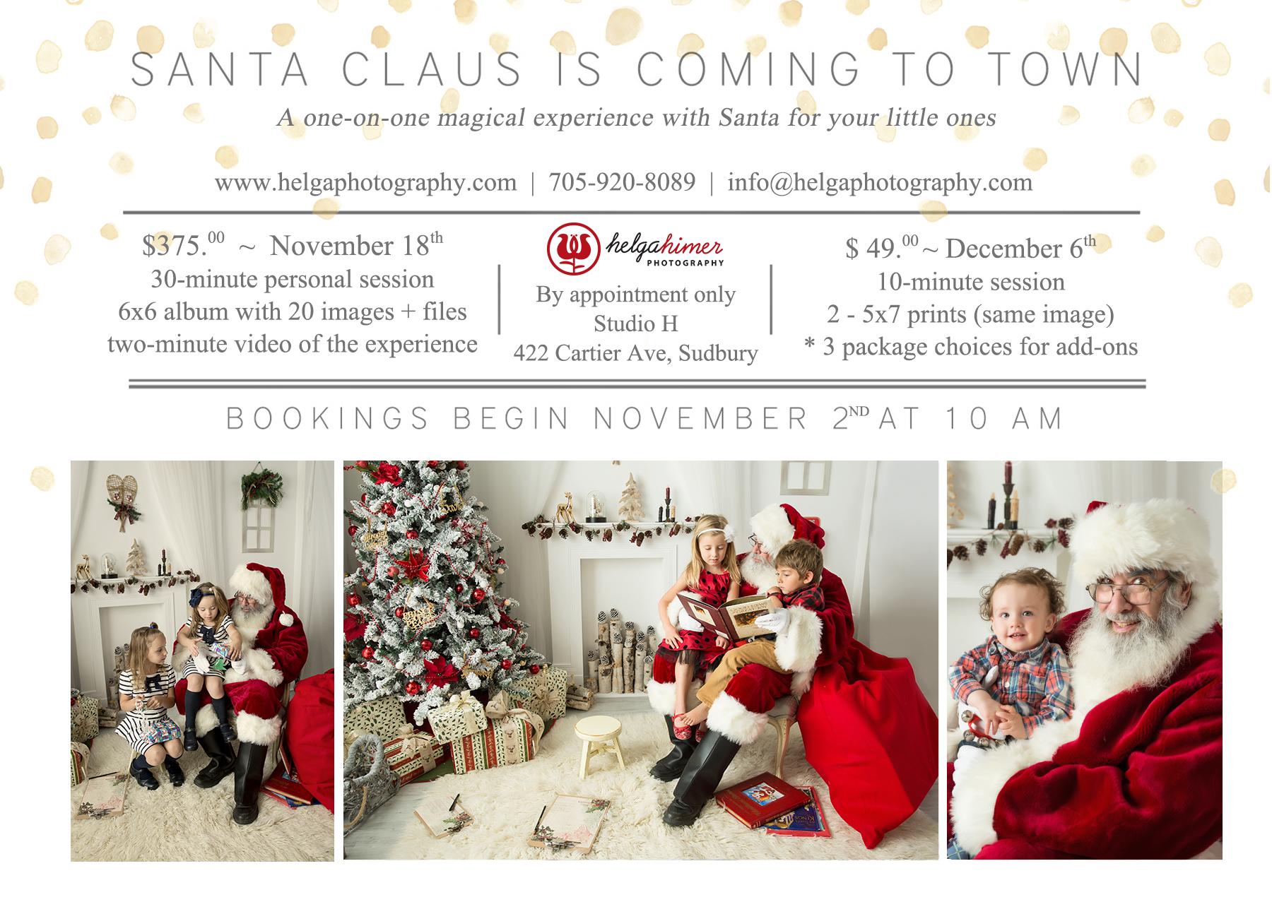Santa Experience in the Sudbury photography studio. Winter setup for meeting Santa claus