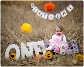 outside cakesmash session in the fall, baby sitting on the blanket in the tall grass beside the letters one